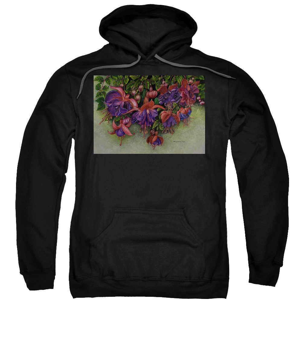 Watercolor Sweatshirt featuring the painting Fuschias by Olive Pascual