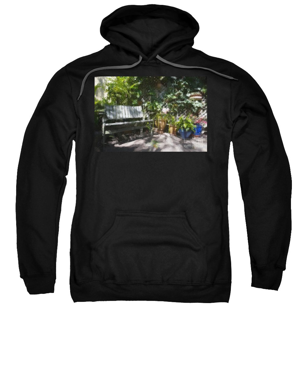 Garden Bench Flowers Impressionism Sweatshirt featuring the photograph Garden Bench by Sheila Smart Fine Art Photography