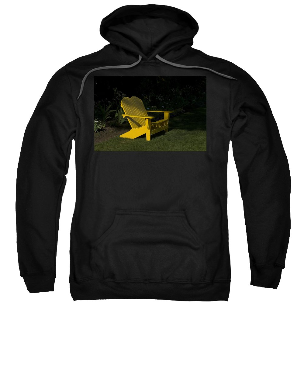 Bench Sweatshirt featuring the photograph Garden Bench Yellow by Sara Stevenson