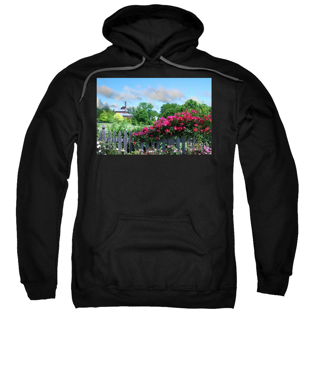Roses Sweatshirt featuring the photograph Garden Fence And Roses by Nancy Mueller