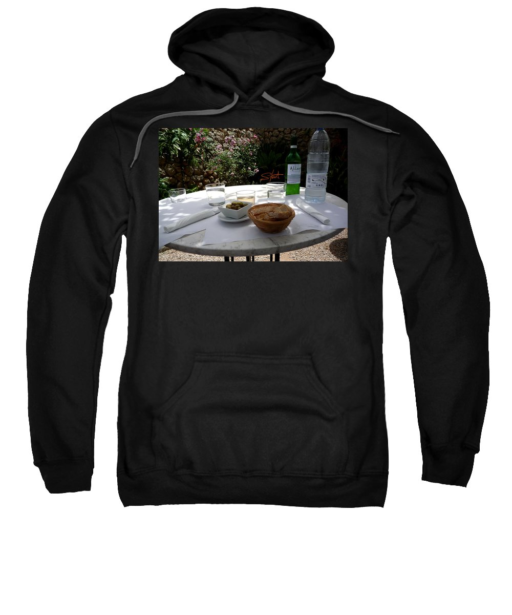 Lunch Sweatshirt featuring the photograph Garden Lunch Mallorca by Charles Stuart