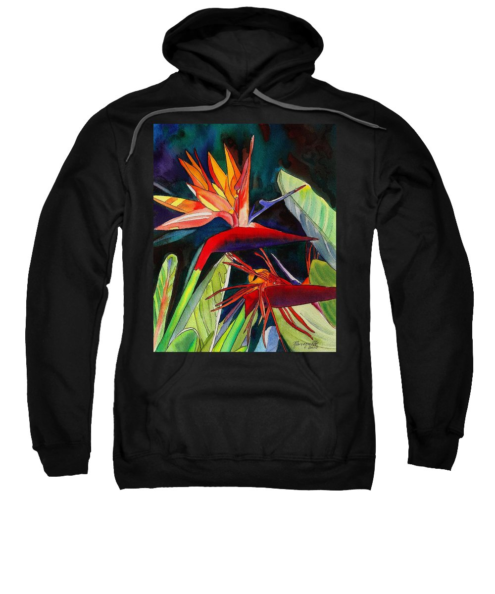 Bird Sweatshirt featuring the painting Garden Of Paradise by Marionette Taboniar