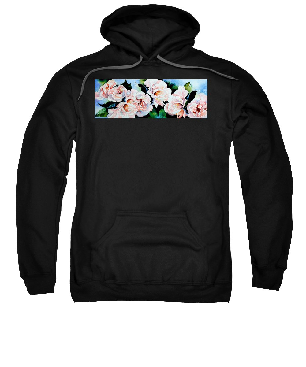 Pink Roses Sweatshirt featuring the painting Garden Roses by Hanne Lore Koehler