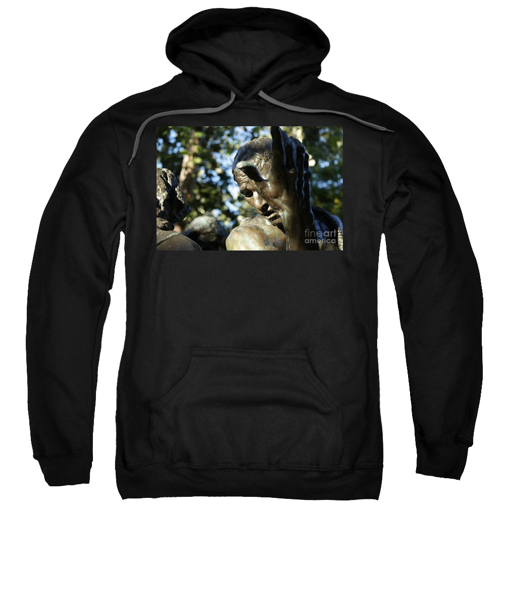 Sculpture Sweatshirt featuring the painting Garden Sculpture by Dean Triolo