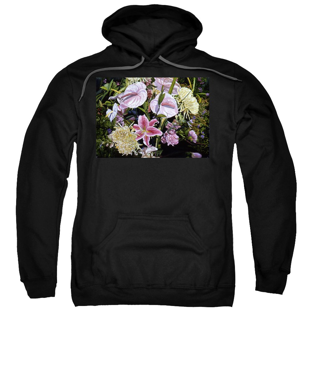 Watercolor Sweatshirt featuring the painting Garden Song by Teri Starkweather