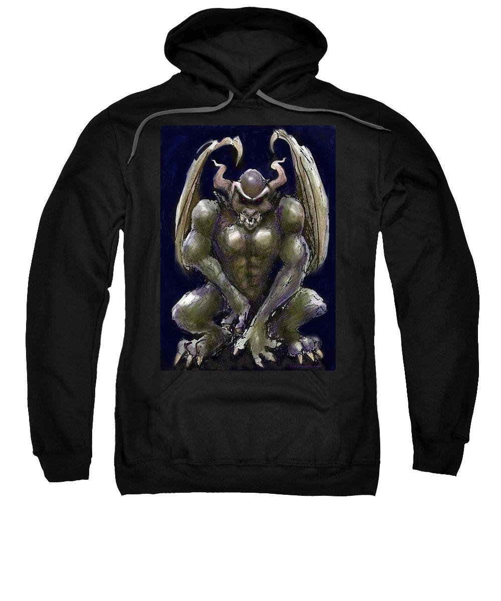 Gargoyle Sweatshirt featuring the greeting card Gargoyle by Kevin Middleton
