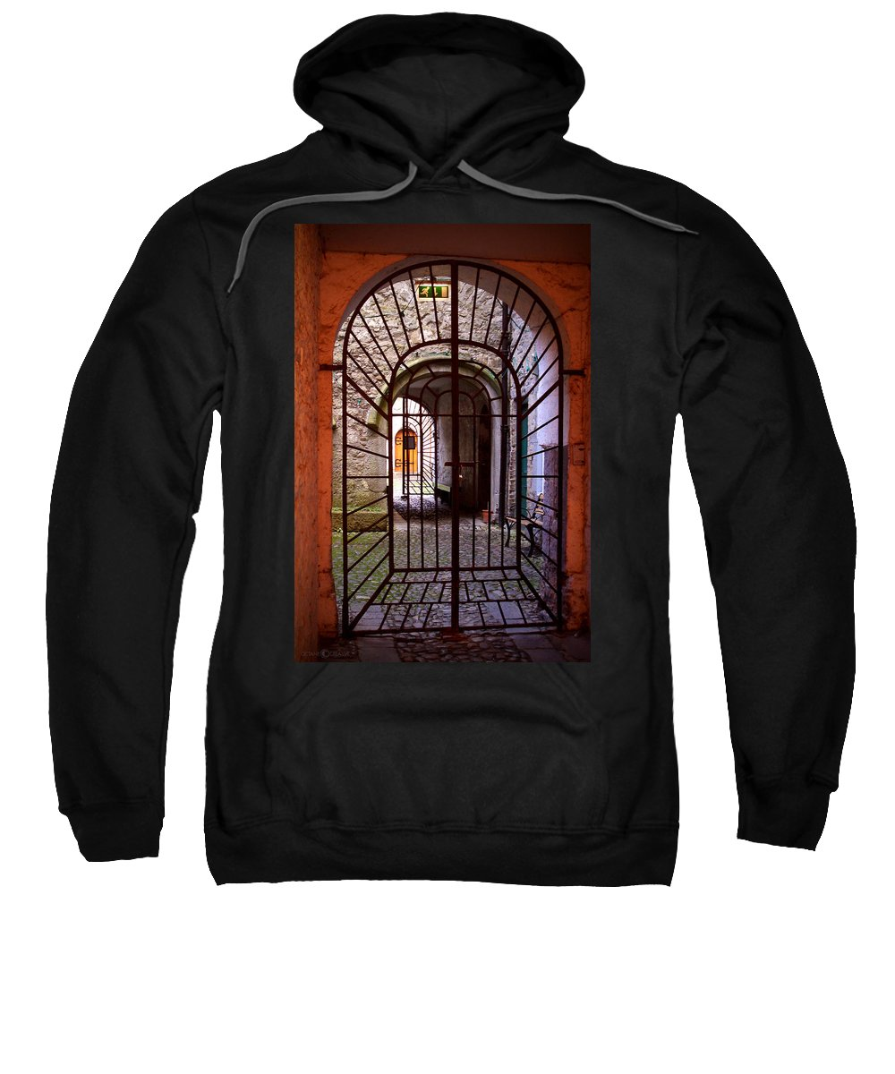 Gate Sweatshirt featuring the photograph Gated Passage by Tim Nyberg