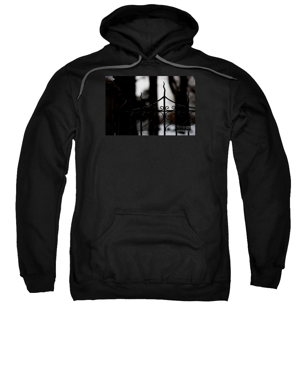 Wrought Iron Sweatshirt featuring the photograph Gated Woods by Linda Shafer