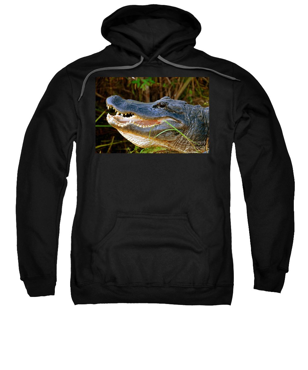 Alligator Sweatshirt featuring the photograph Gator Head by David Lee Thompson