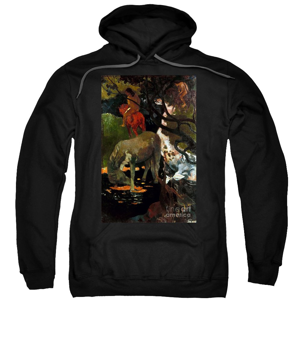 1898 Sweatshirt featuring the photograph Gauguin: White Horse, 1898 by Granger