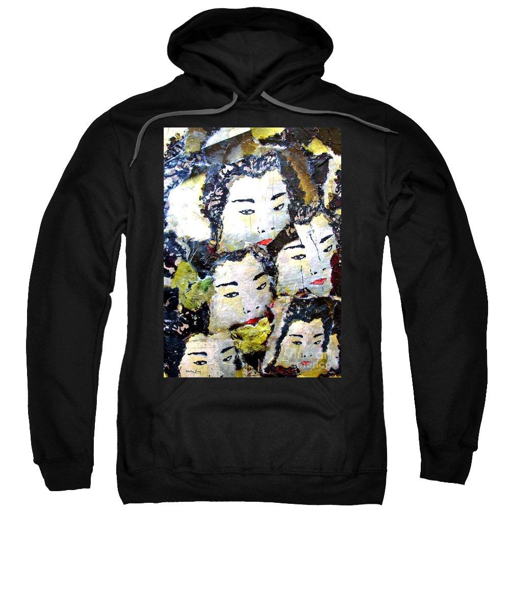 Geisha Girls Sweatshirt featuring the mixed media Geisha Girls by Shelley Jones