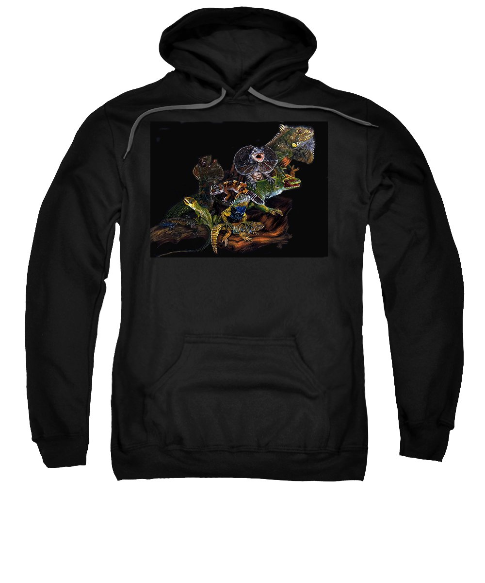 Lizards Sweatshirt featuring the drawing Gems And Jewels by Barbara Keith