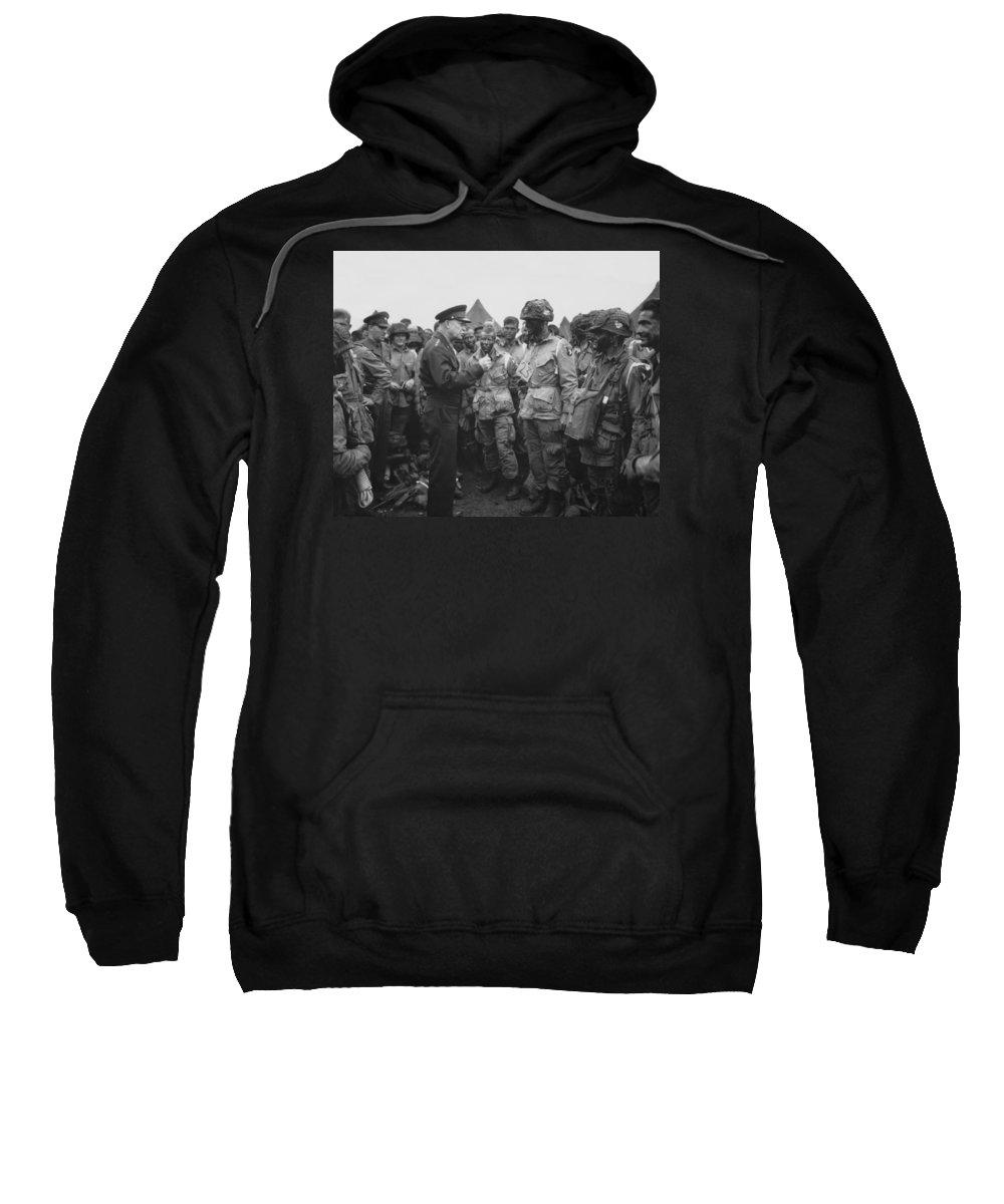 101st Airborne Division Sweatshirt featuring the photograph General Eisenhower On D-day by War Is Hell Store