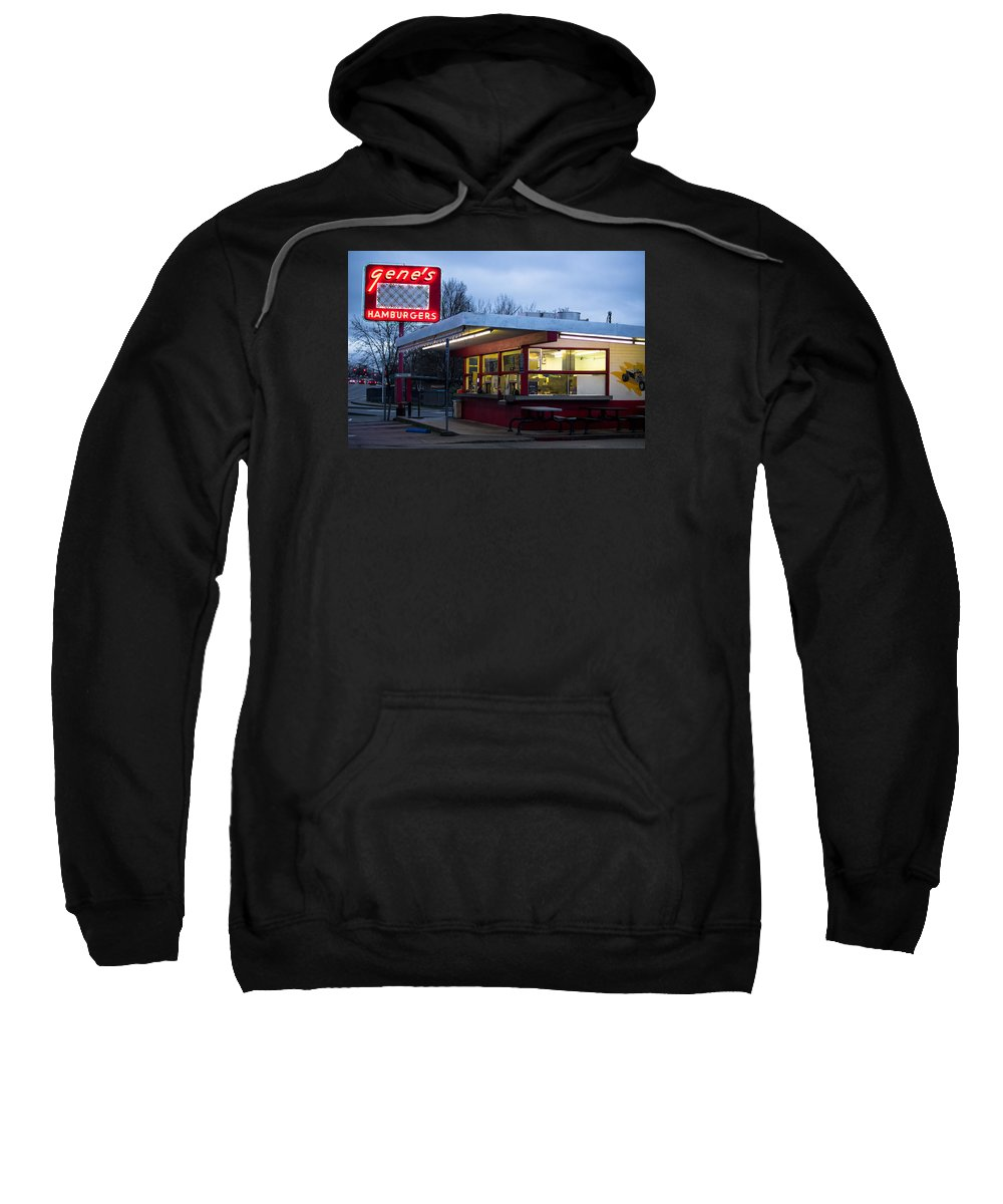 Gene's Sweatshirt featuring the photograph Gene's Drive In by Marnie Patchett
