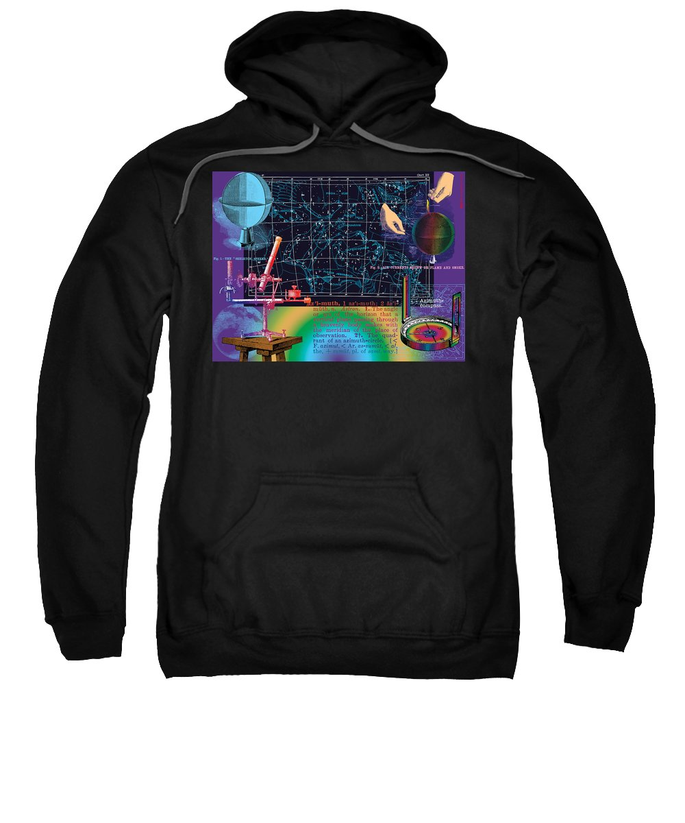 Digital Collage Sweatshirt featuring the digital art Geography And Voyaging Homage To Joseph Cornell by Eric Edelman