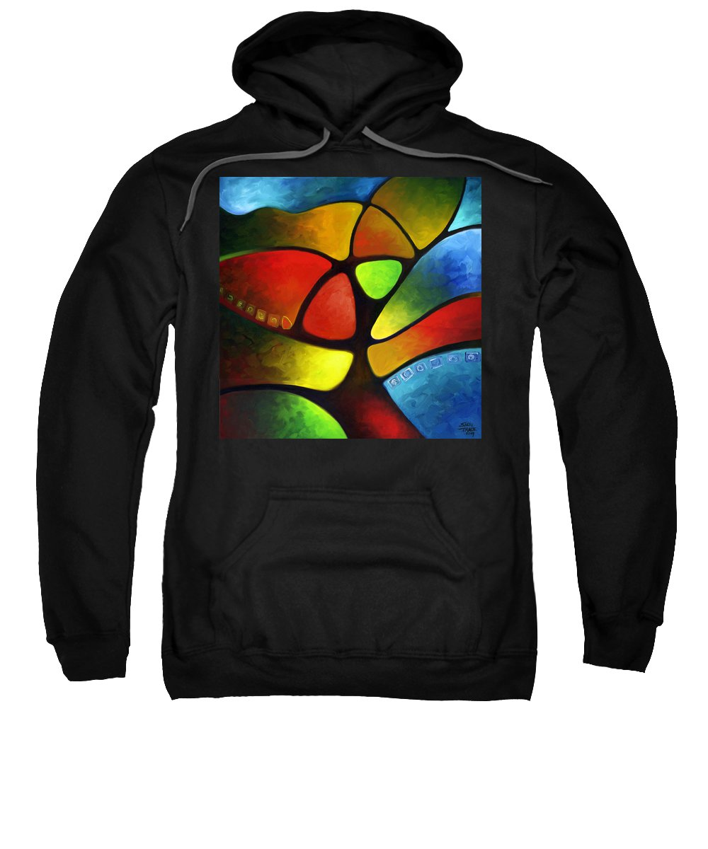 Tree Sweatshirt featuring the painting Geometree by Sally Trace