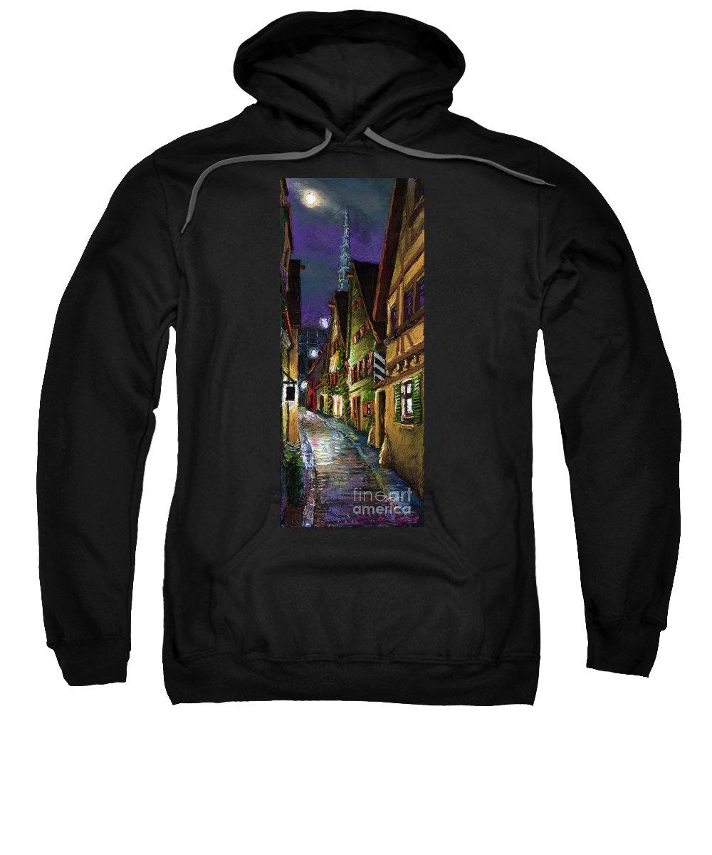 Pastel Sweatshirt featuring the painting Germany Ulm Old Street Night Moon by Yuriy Shevchuk
