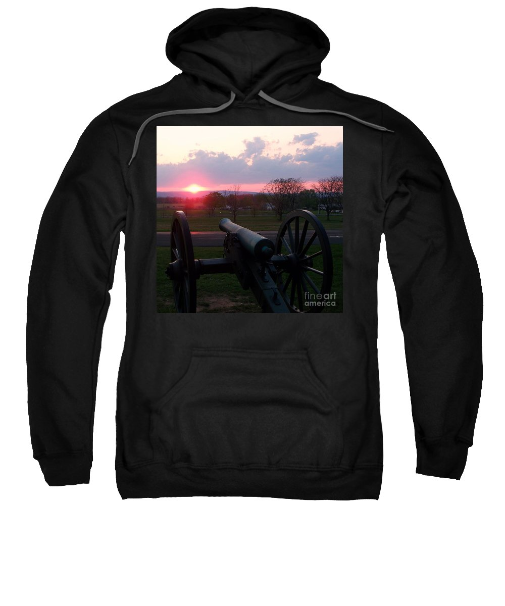 Gettysburg Cannon Sweatshirt featuring the painting Gettysburg Cannon by Eric Schiabor
