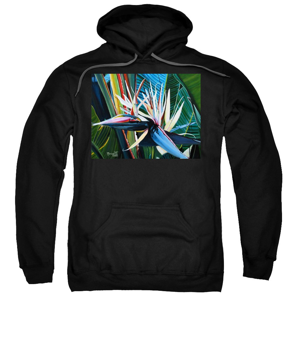 Bird Sweatshirt featuring the painting Giant Bird Of Paradise by Marionette Taboniar