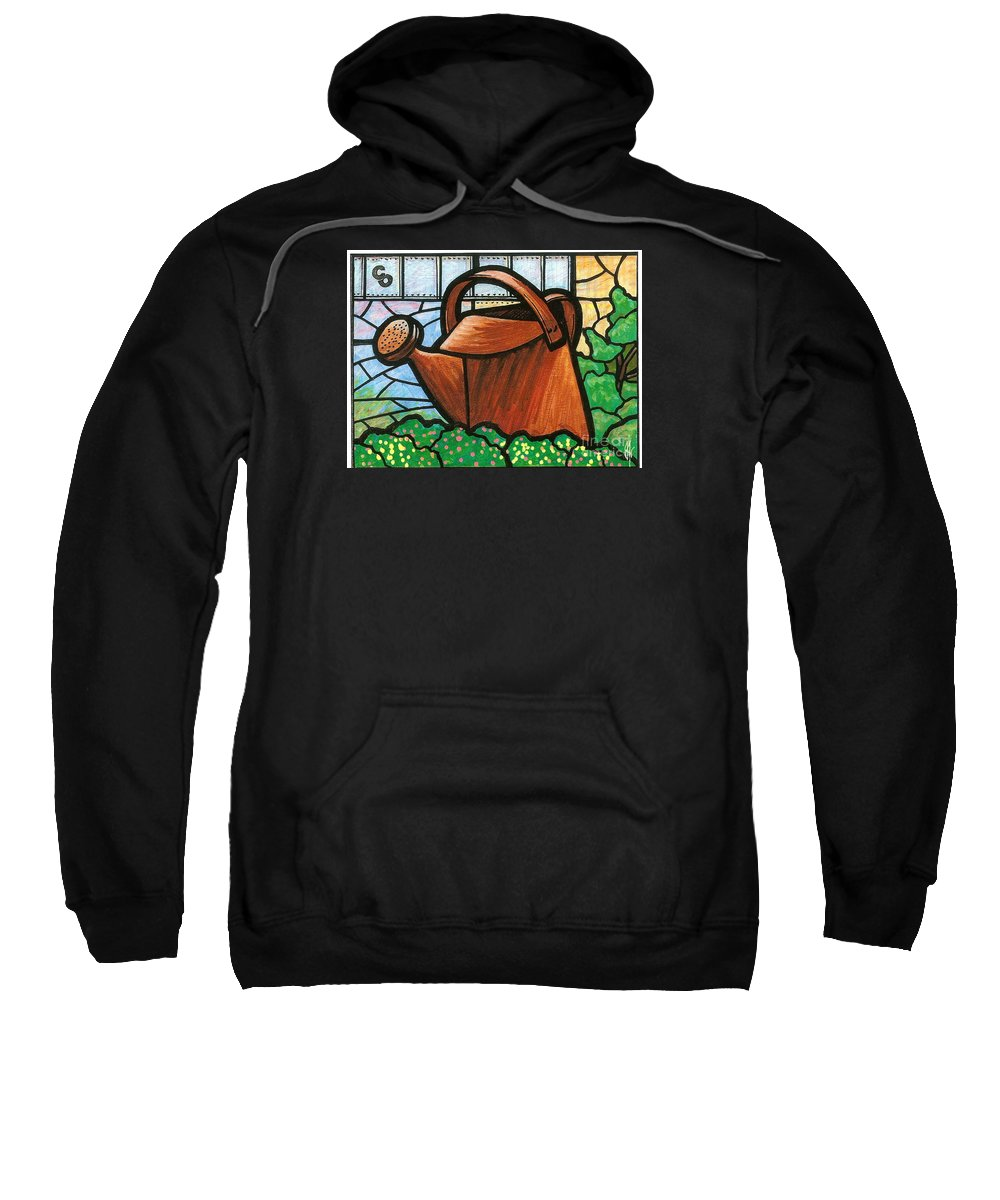 Gardening Sweatshirt featuring the painting Giant Watering Can Staunton Landmark by Jim Harris