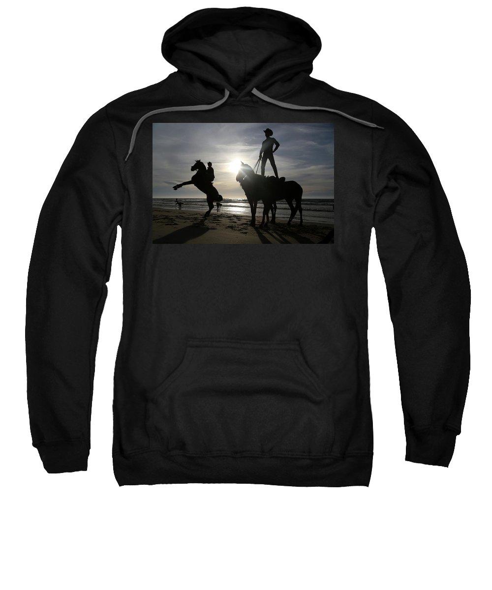 Horseback Riding At Gaza Beach Sweatshirt featuring the photograph Horseback Riding by Mahmoud Issa