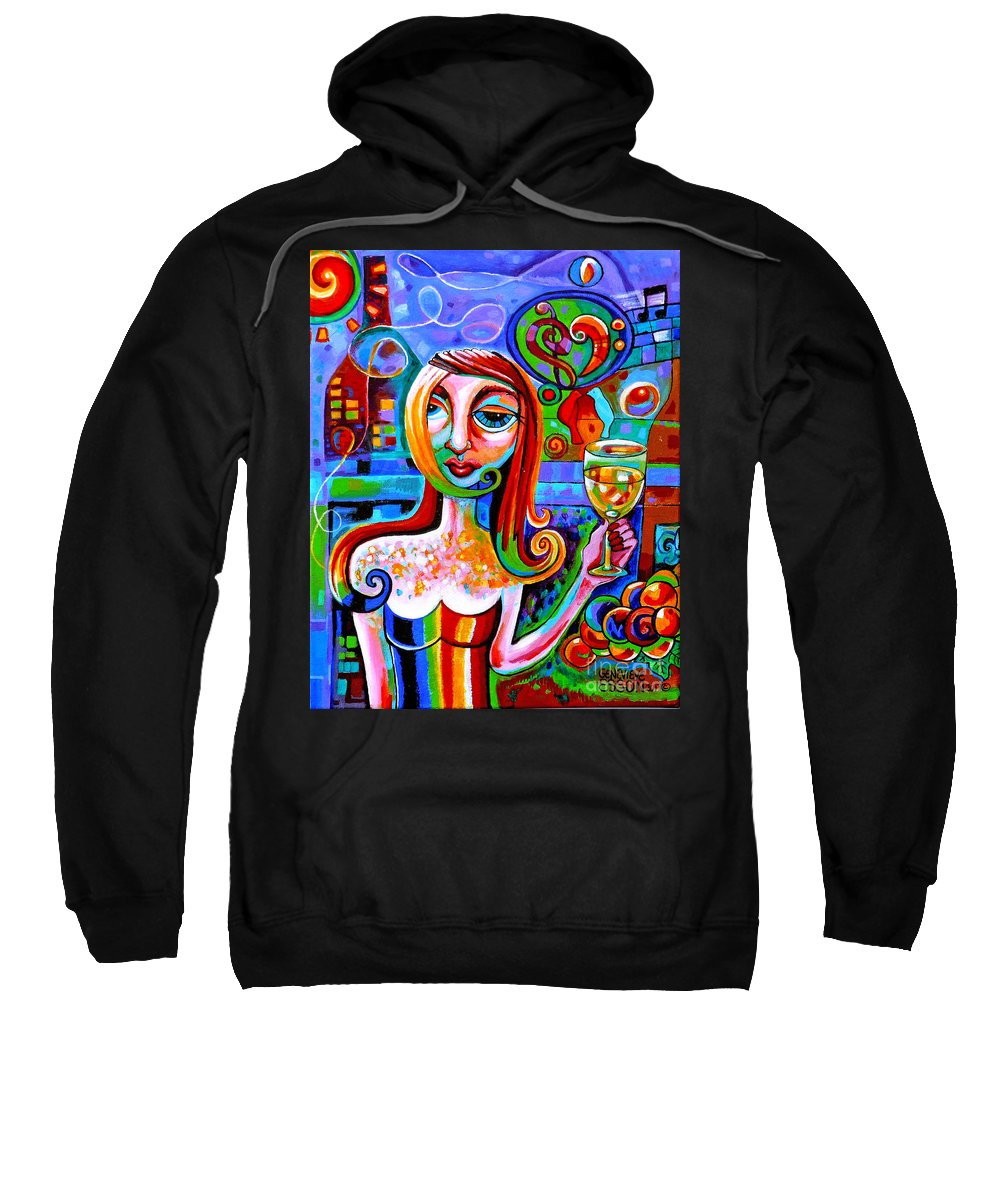 Wine Sweatshirt featuring the painting Girl With Glass Of Chardonnay by Genevieve Esson