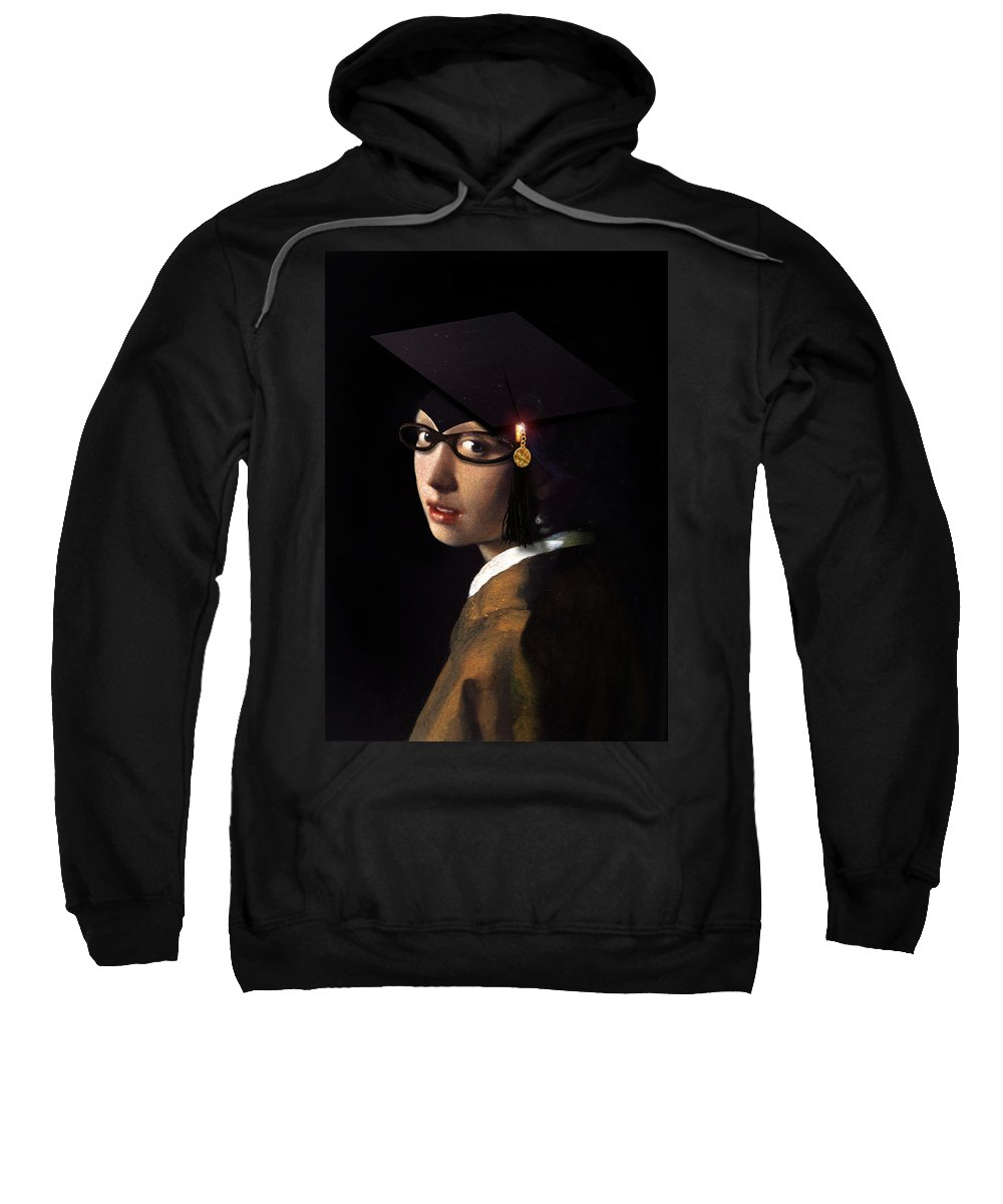 Vermeer Sweatshirt featuring the painting Girl With The Grad Cap by Gravityx9 Designs