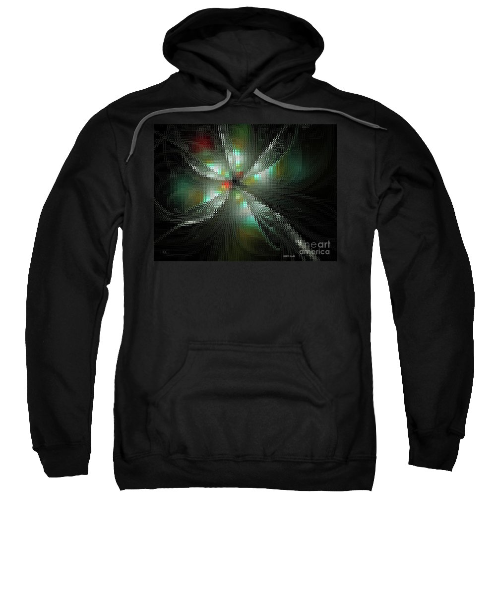 Fractal Sweatshirt featuring the digital art Glassworks Fractal by Deborah Benoit