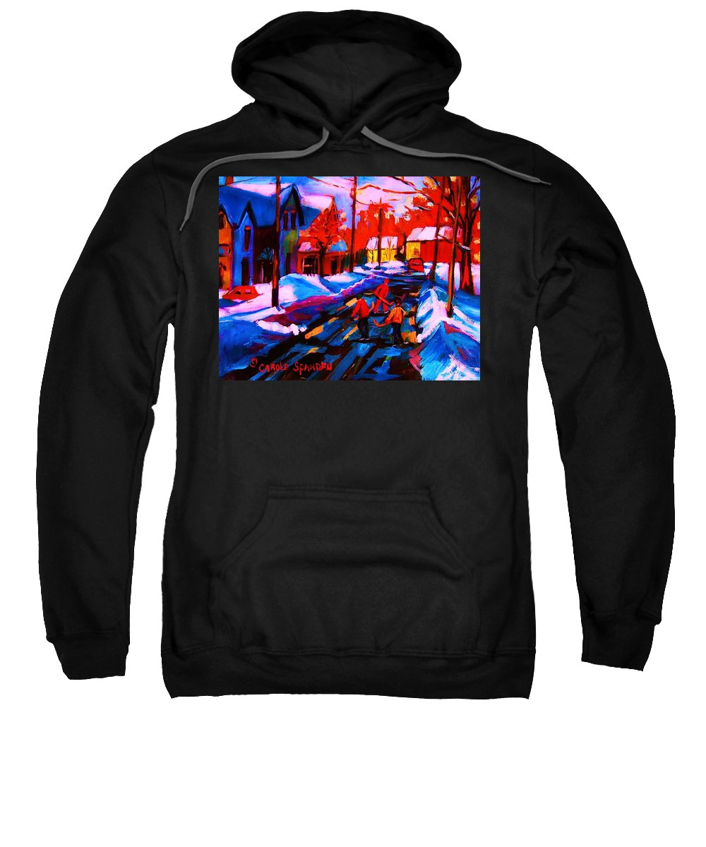 Streethockey Sweatshirt featuring the painting Glorious Day For A Game by Carole Spandau