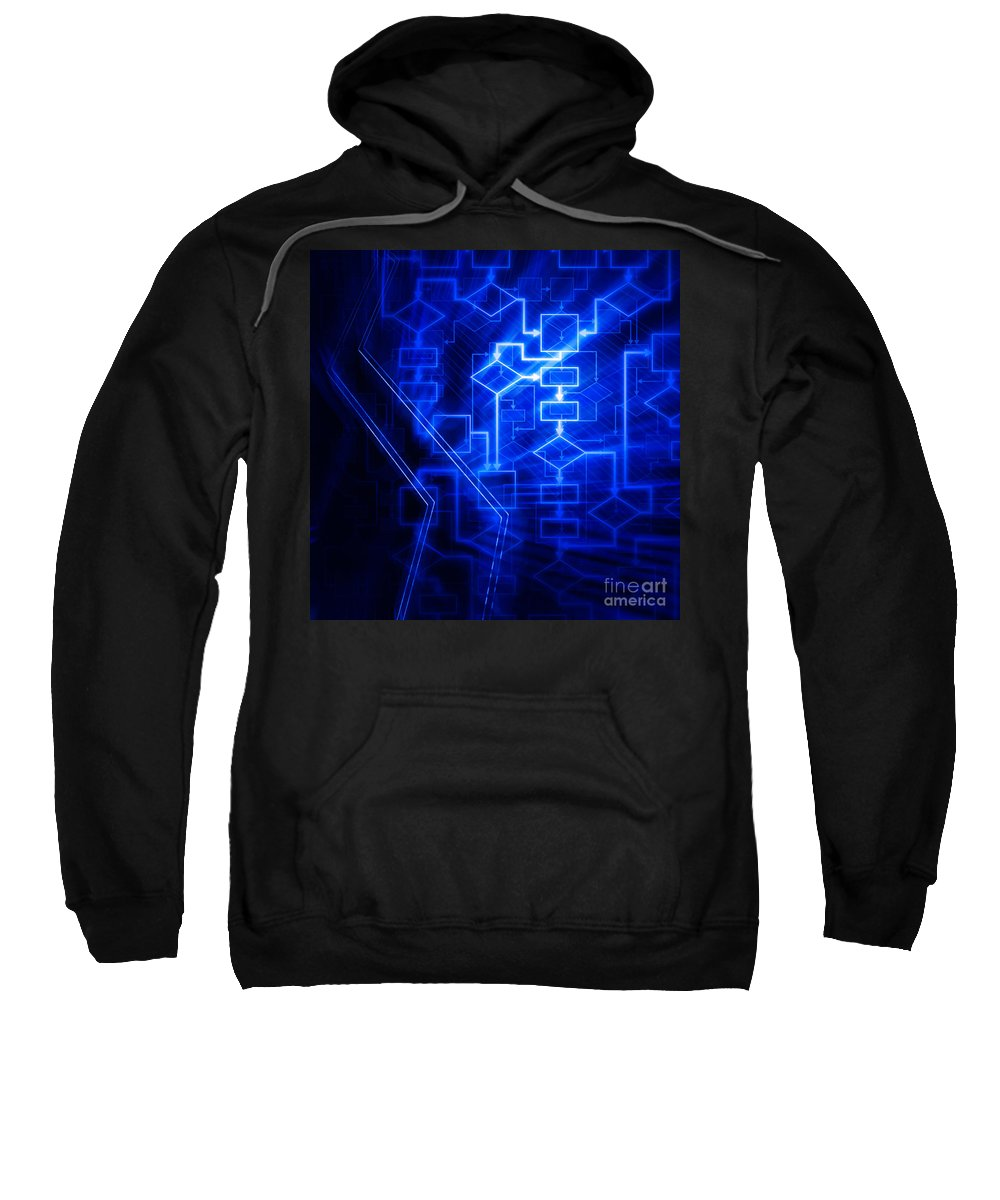 Flowchart Sweatshirt featuring the photograph Glowing Blue Flowchart by Oleksiy Maksymenko