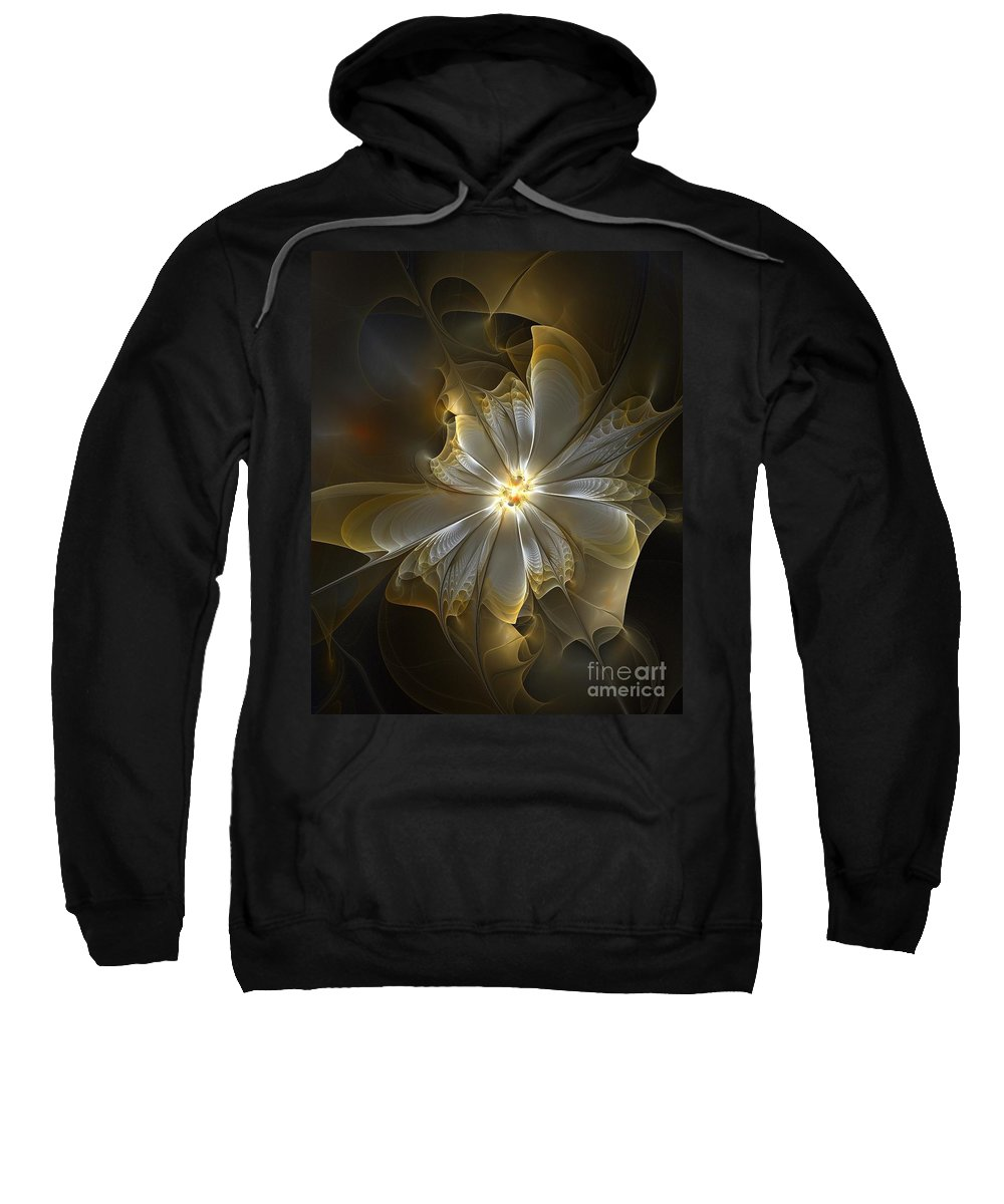 Digital Art Sweatshirt featuring the digital art Glowing In Silver And Gold by Amanda Moore