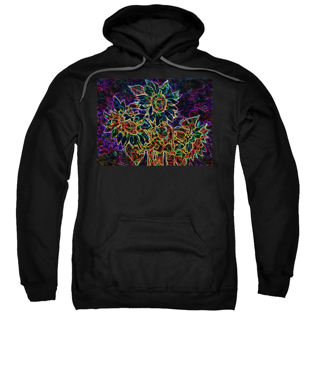 Sunflowers Sweatshirt featuring the digital art Glowing Sunflowers by Iliyan Bozhanov