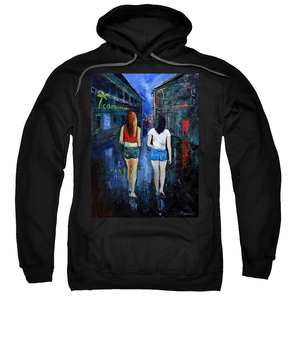 Girl Sweatshirt featuring the painting Going Out Tonight by Pol Ledent