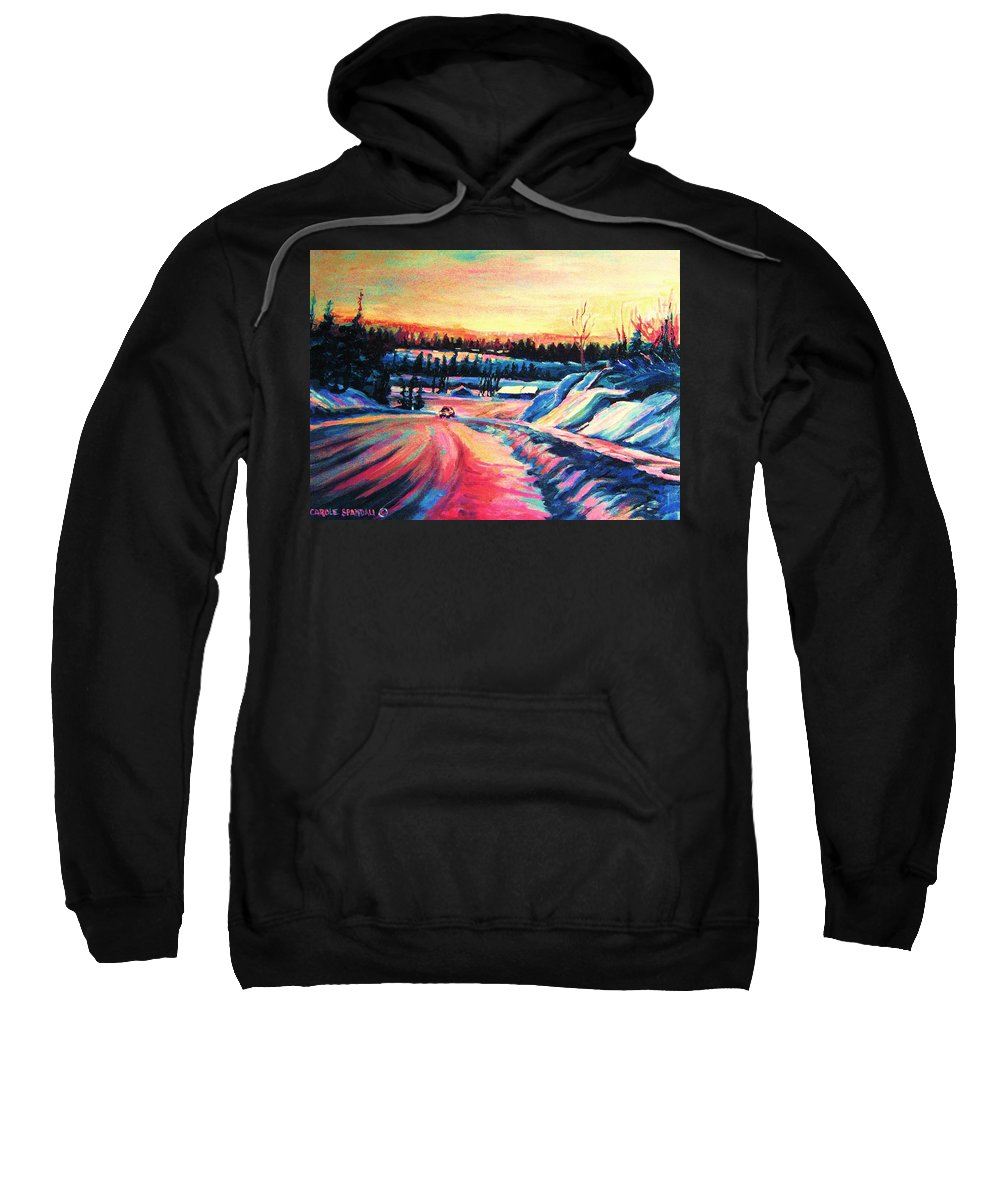Winterscene Sweatshirt featuring the painting Going Places by Carole Spandau