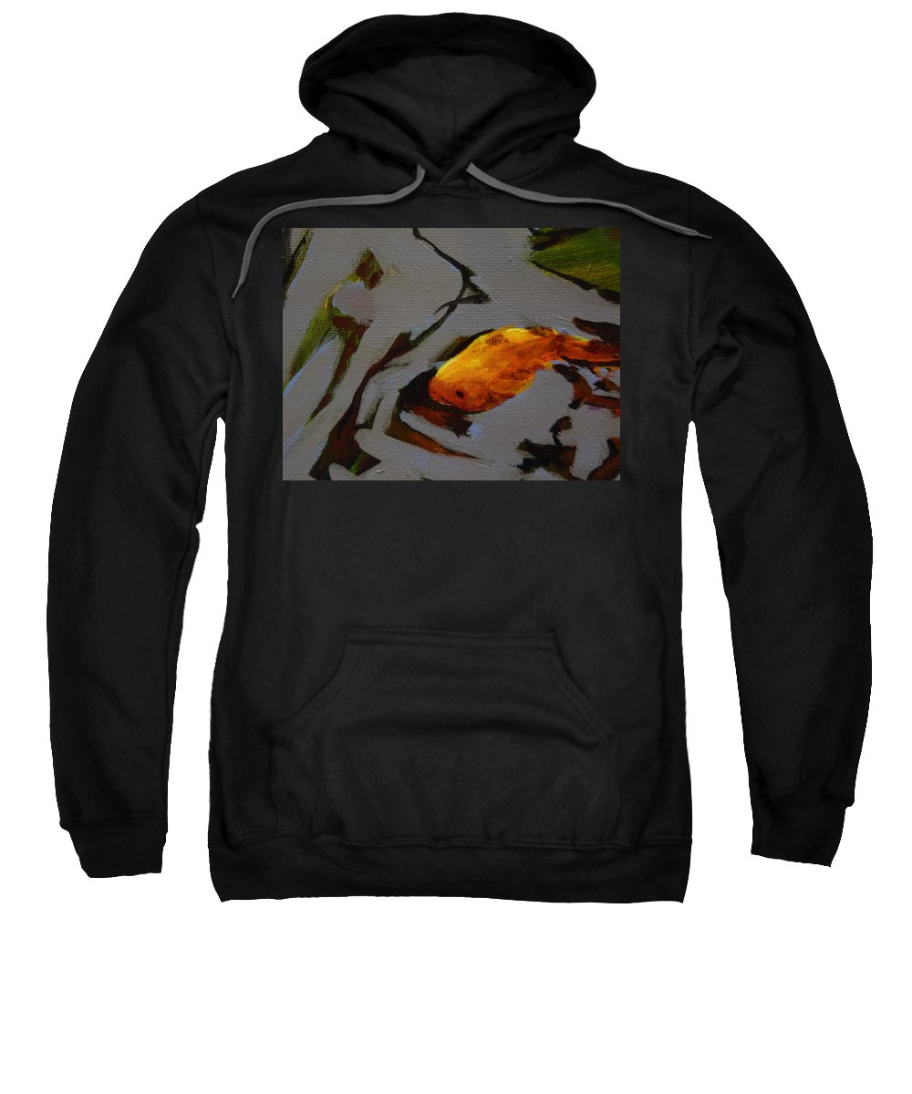 Goldfish Comet Gold Fish Pond Fishpond Water Reflections Quiet Peaceful Pattern Yellow Red Green Gray Sweatshirt featuring the painting Gold In The Pond by Catherine Robertson