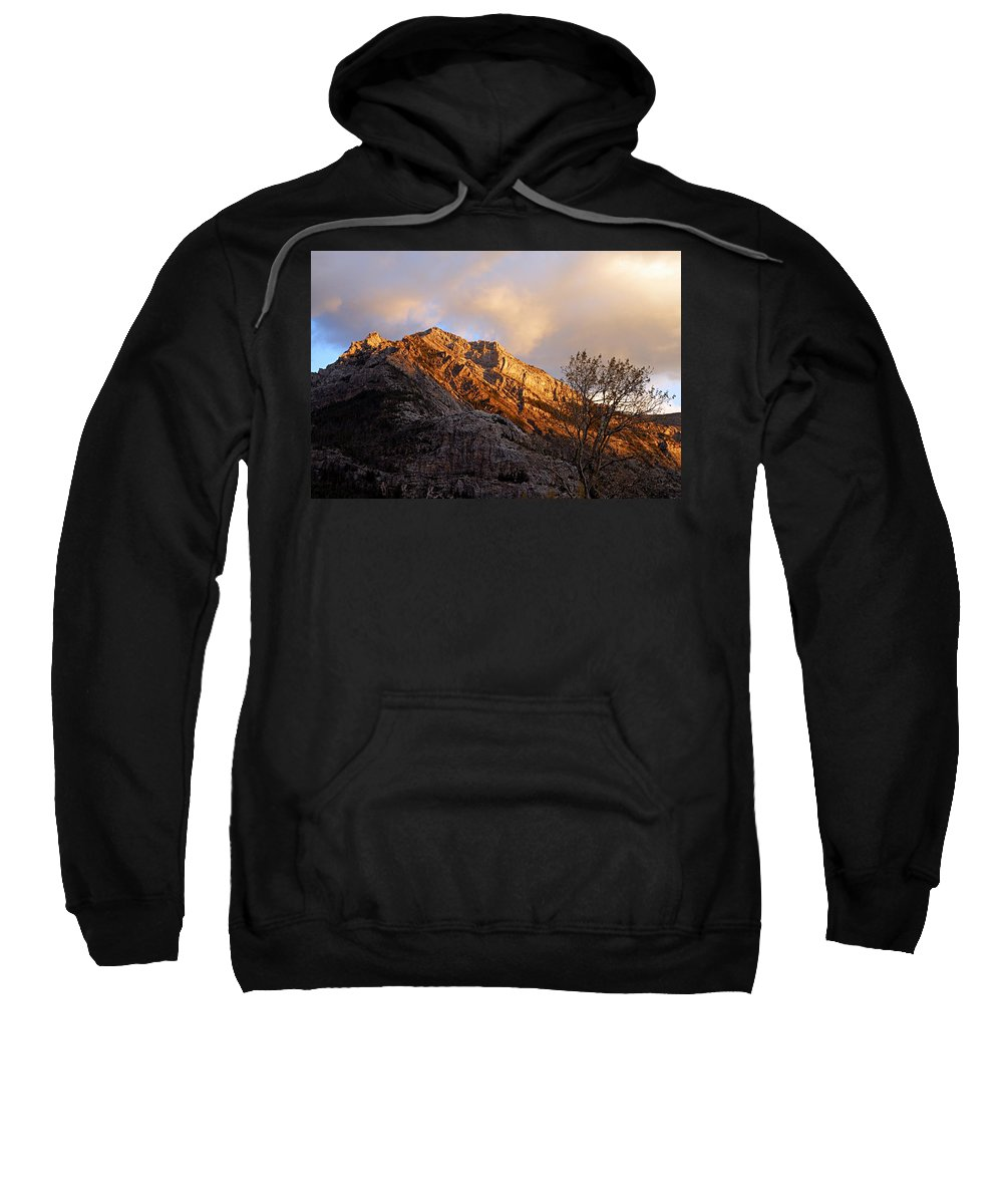 Waterton Lakes National Park Sweatshirt featuring the photograph Gold In Them Thar Hills by Larry Ricker