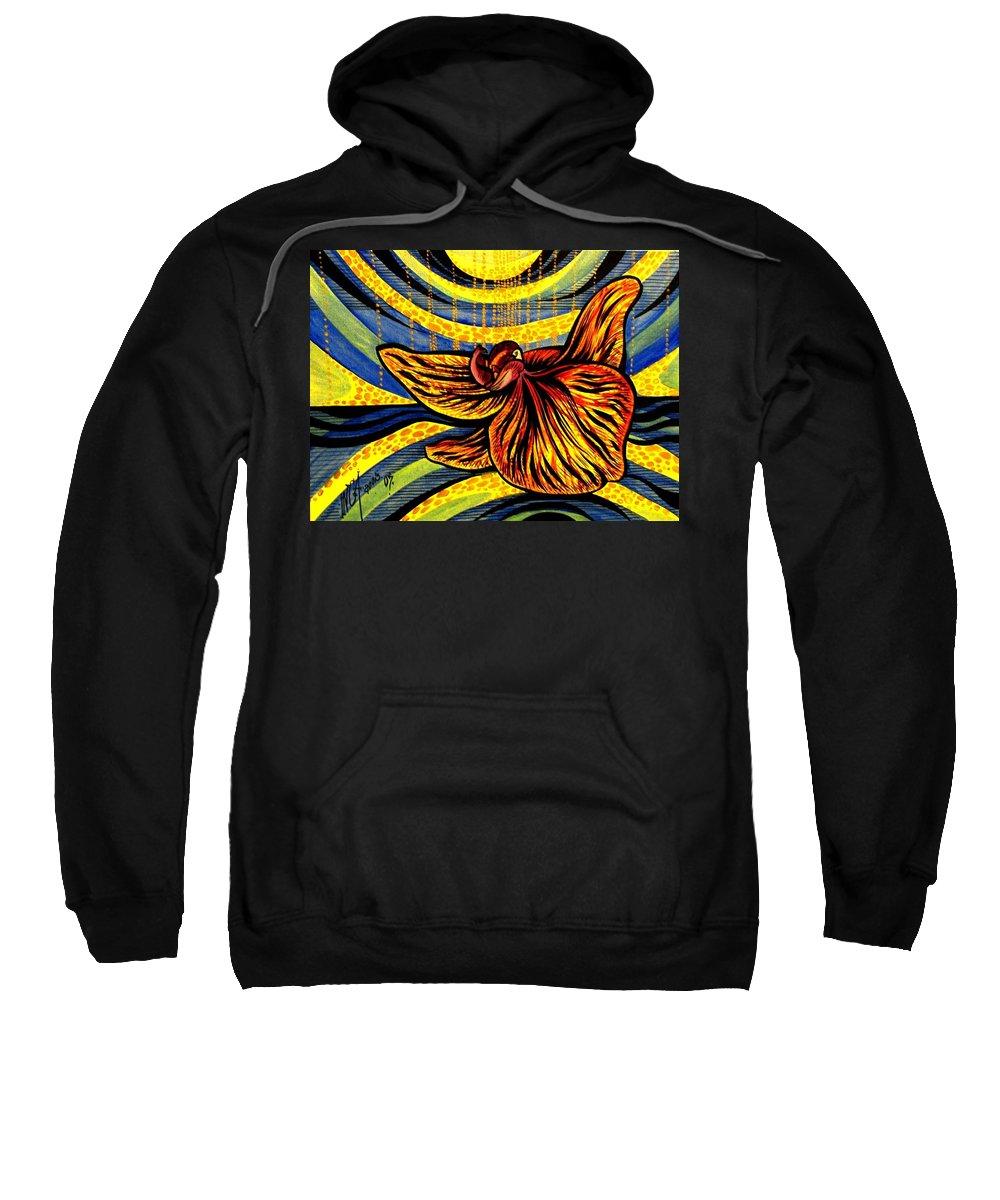 Inga Vereshchagina Sweatshirt featuring the painting Gold Orchid by Inga Vereshchagina