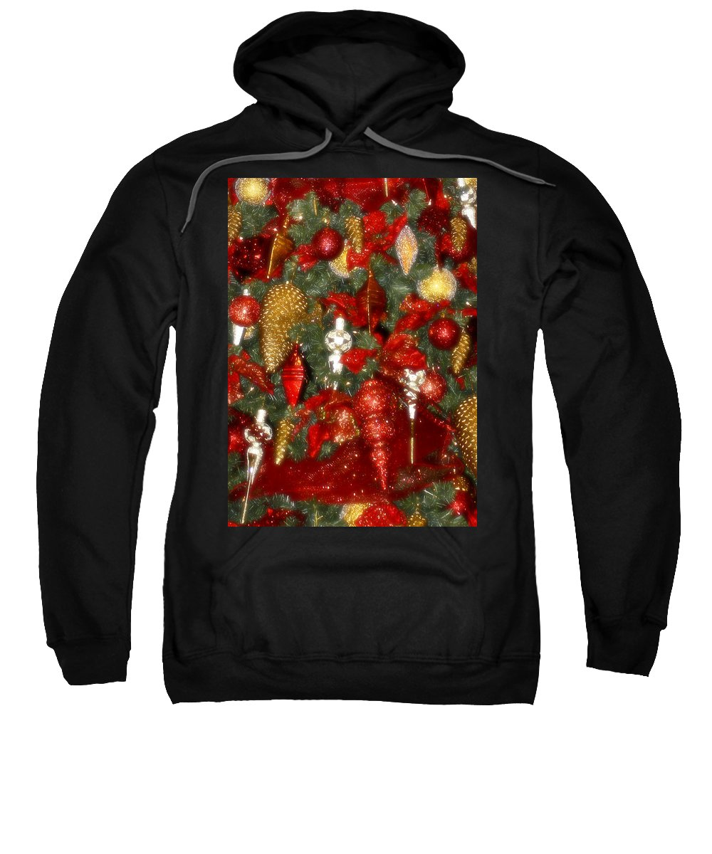 Christmas Sweatshirt featuring the photograph Gold Pinecone Tree Detail Fashions For Evergreens Hotel Roanoke 2009 by Teresa Mucha