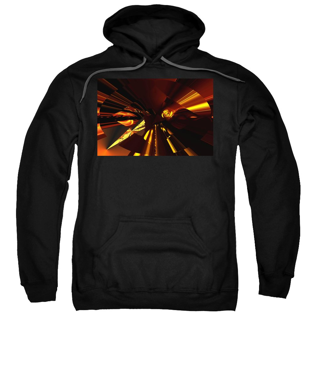Abstract Sweatshirt featuring the digital art Golden Brown Abstract by David Lane