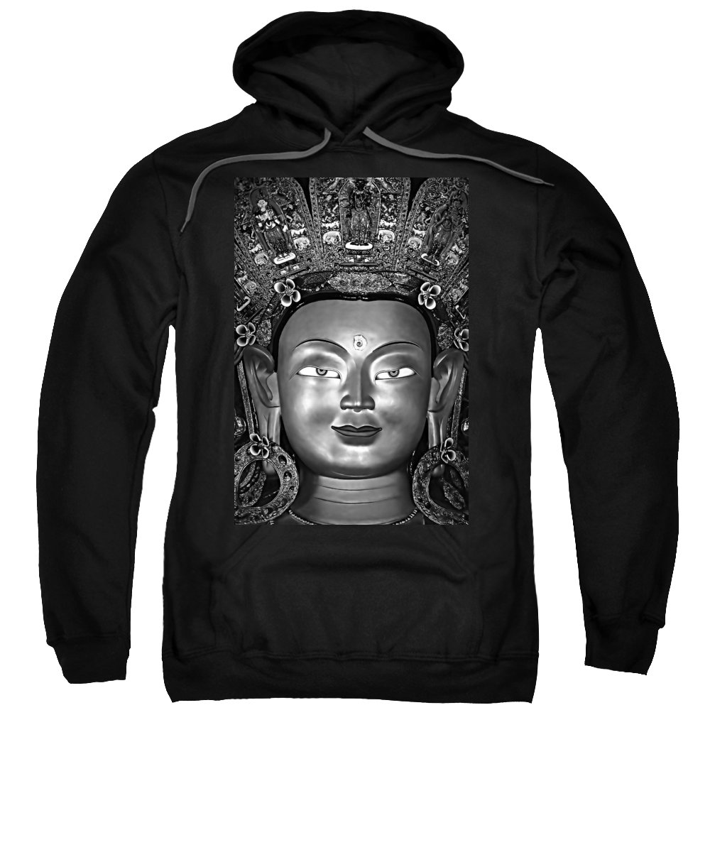 Buddhism Sweatshirt featuring the photograph Golden Buddha Monochrome by Steve Harrington