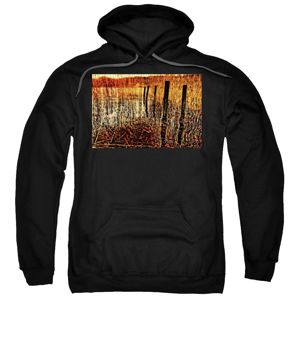 Jetty Sweatshirt featuring the photograph Golden Decay by Meirion Matthias