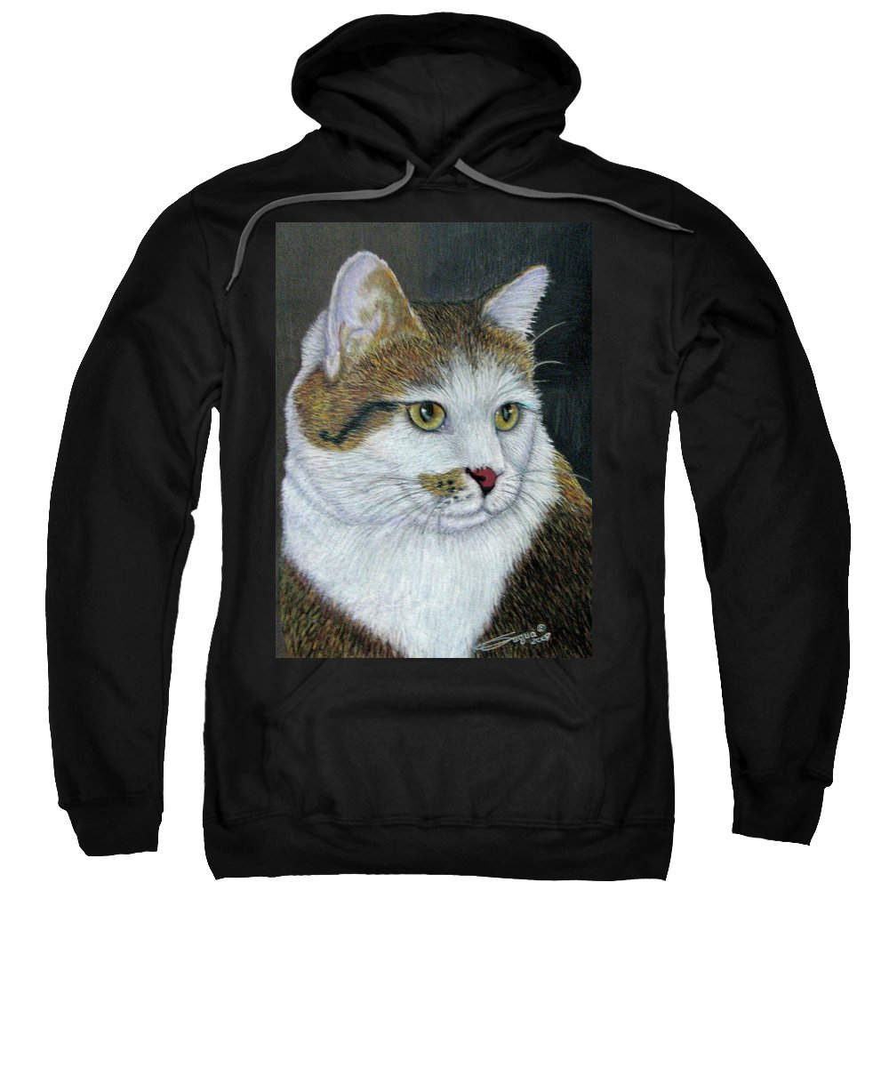 Fuqua - Artwork Sweatshirt featuring the drawing Golden Eyes by Beverly Fuqua