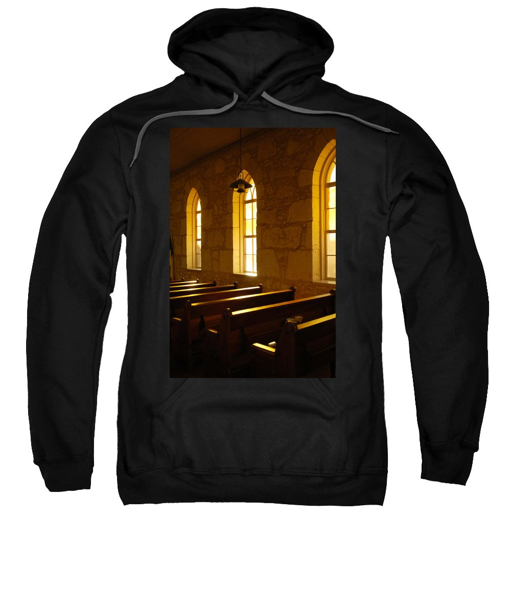 Worship Sweatshirt featuring the photograph Golden Pews by Jill Reger