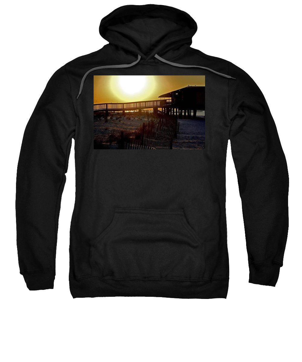 Beach Sweatshirt featuring the painting Golden Slats by Michael Thomas