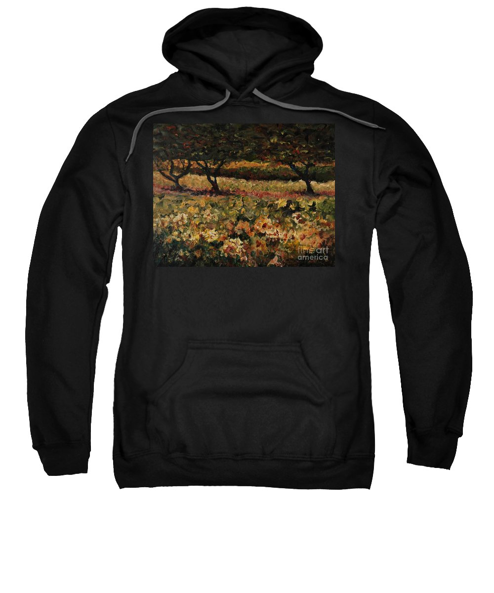 Landscape Sweatshirt featuring the painting Golden Sunflowers by Nadine Rippelmeyer
