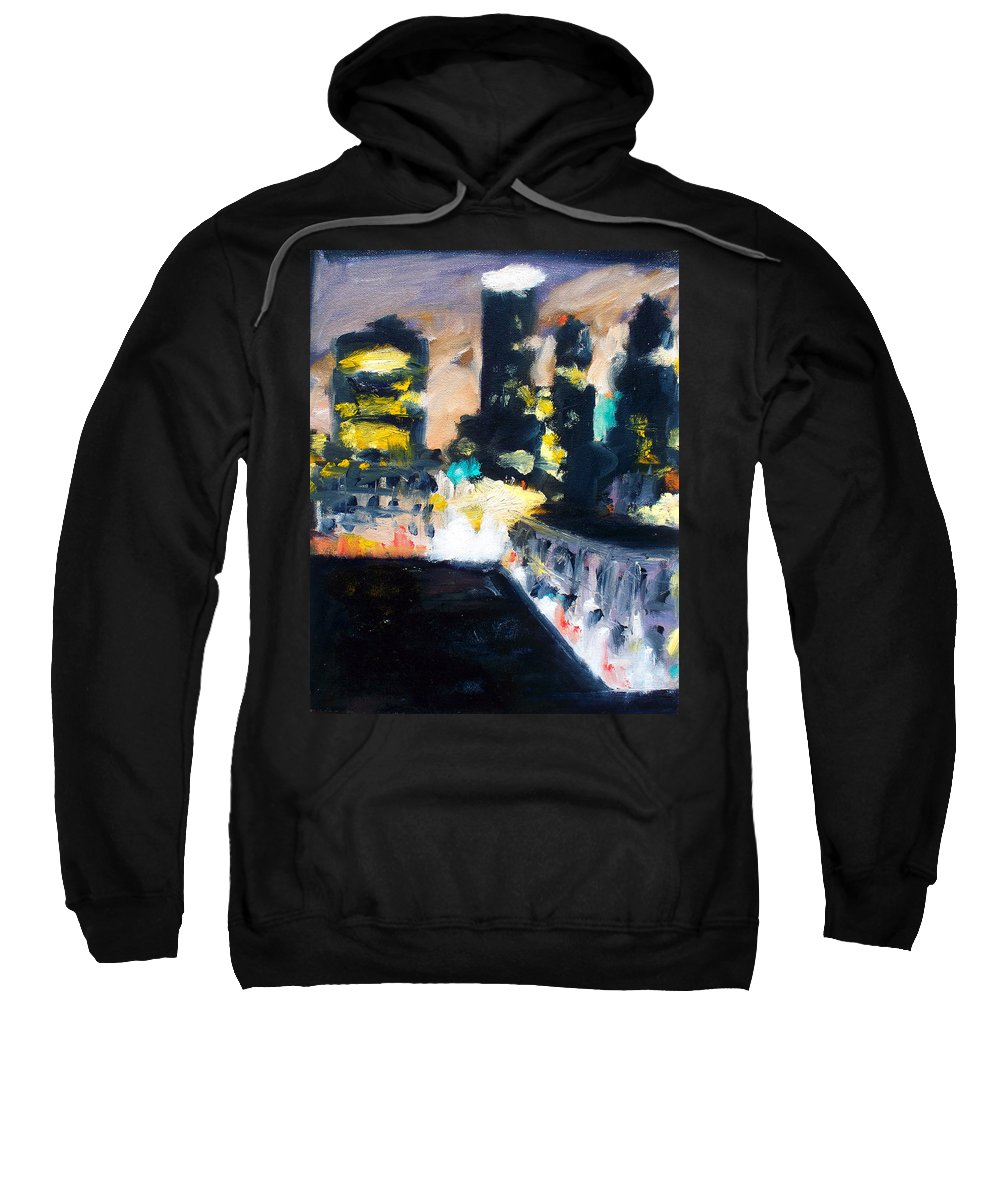 Des Moines Sweatshirt featuring the painting Gotham by Robert Reeves