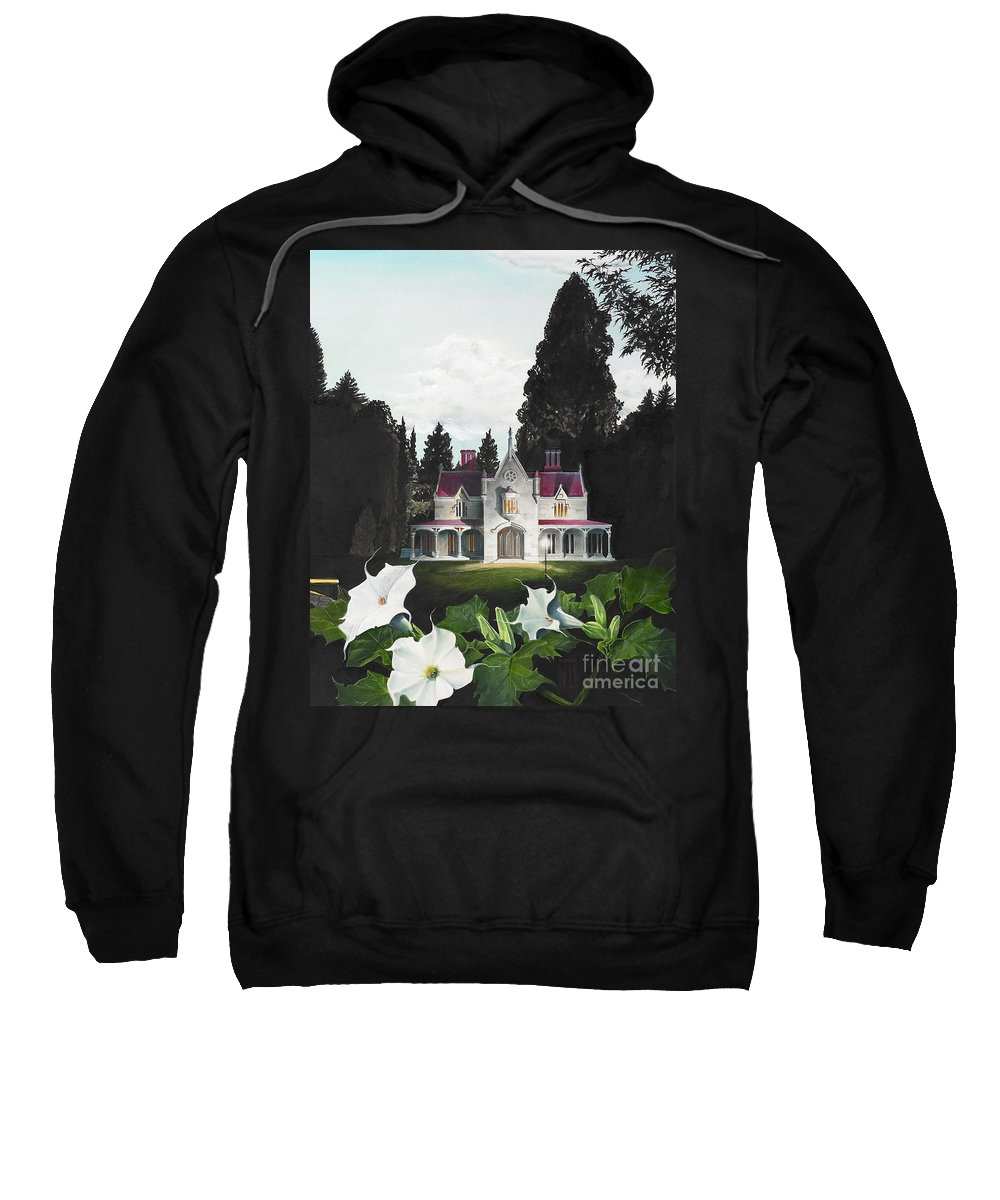Fantasy Sweatshirt featuring the painting Gothic Country House detail from Night Bridge by Melissa A Benson