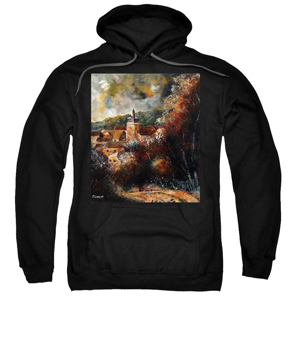 Village Sweatshirt featuring the painting Graide Village Belgium by Pol Ledent