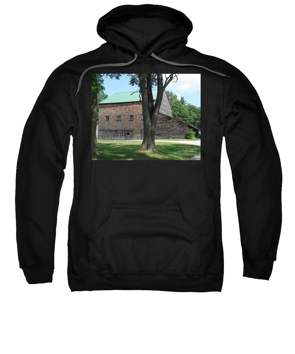 Barn Sweatshirt featuring the photograph Grammie's Barn Through The Trees by Kerri Mortenson
