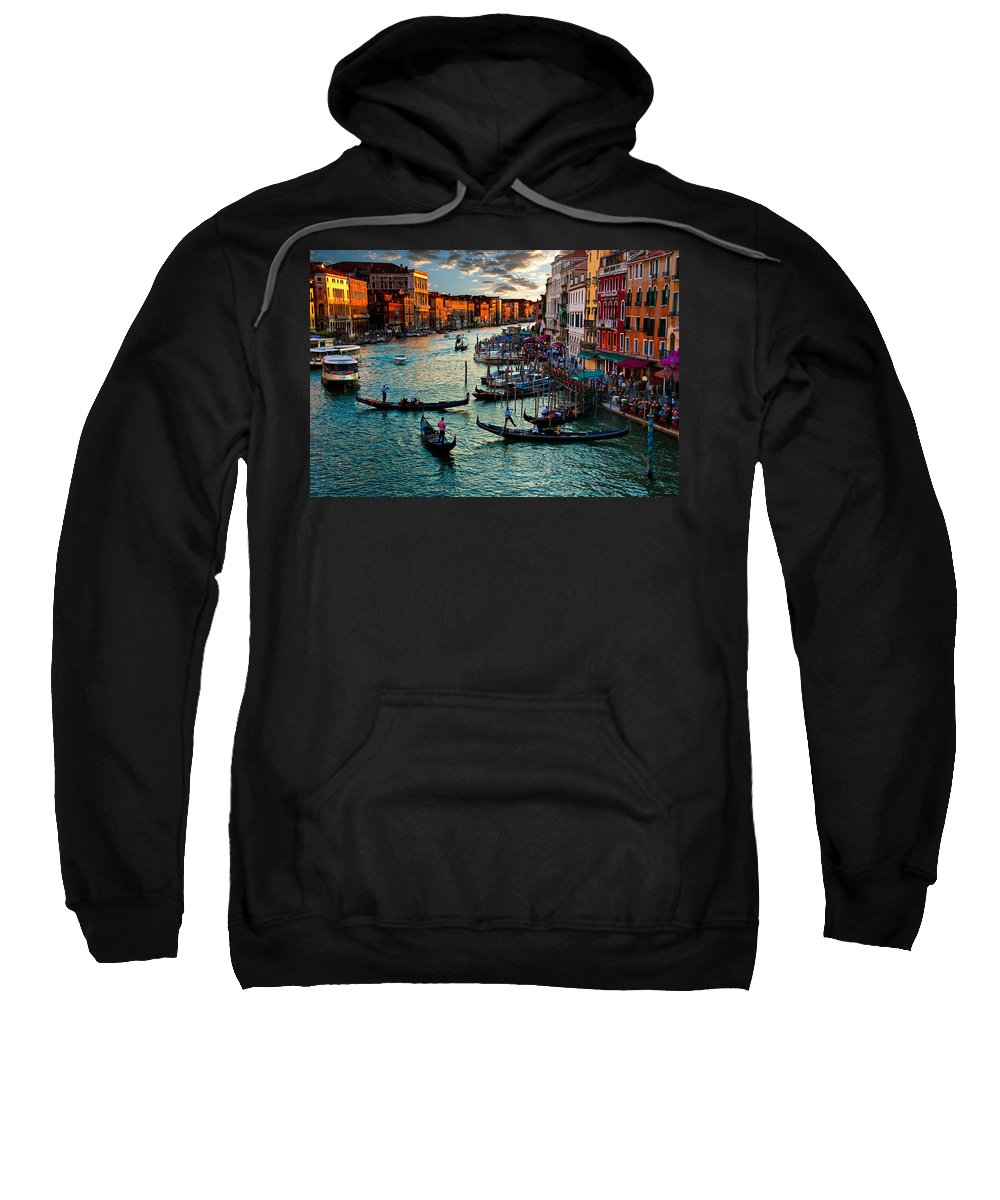 Grand Canal Sweatshirt featuring the photograph Grand Canal Sunset by Harry Spitz